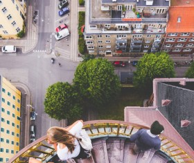 Town scenery from high view Stock Photo