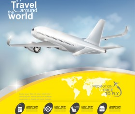 Travel around the world business template vector 12