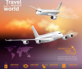Travel around the world business template vector 14