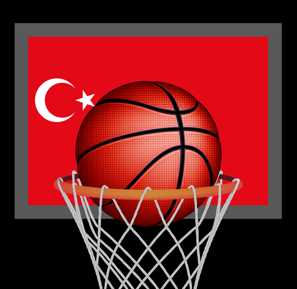 Turkish styles basketball background vector 02