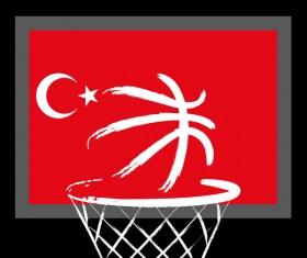 Turkish styles basketball background vector 04