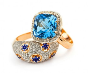 Two sapphire rings Stock Photo