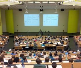 University Classroom Meeting Stock Photo