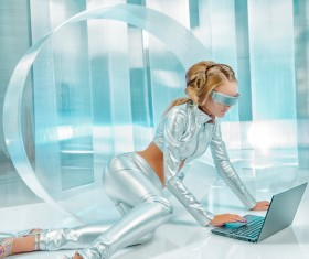 Use computer fashion girl metal shine Stock Photo 02