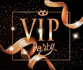 VIP invitation card with gold curly ribbons and frame vector