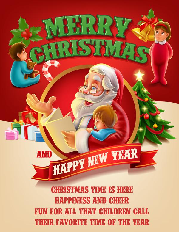 Vector 2017 christmas poster template vector 01