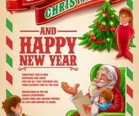 Vector 2017 christmas poster template vector 02