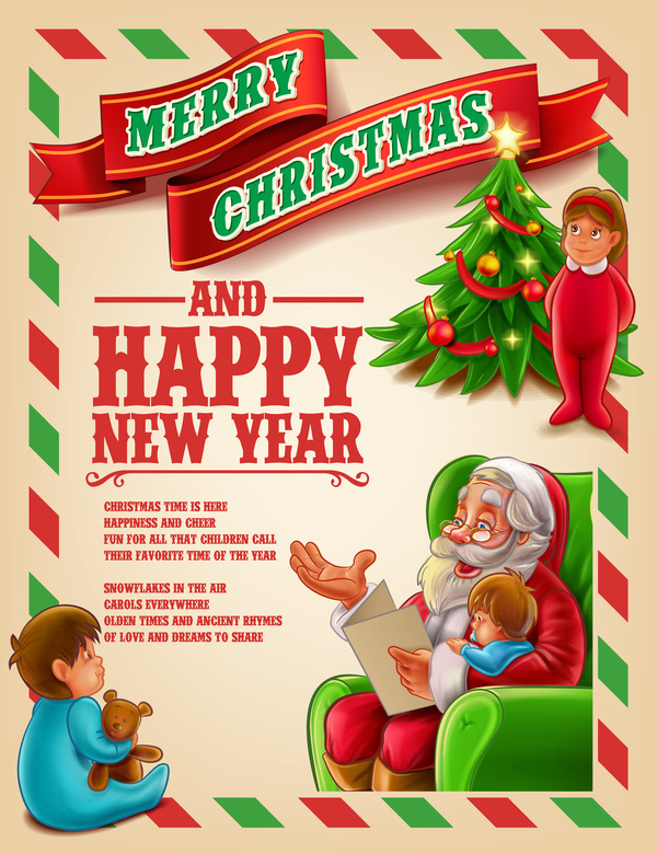 Vector 2017 christmas poster template vector 02