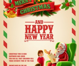 Vector 2017 christmas poster template vector 03