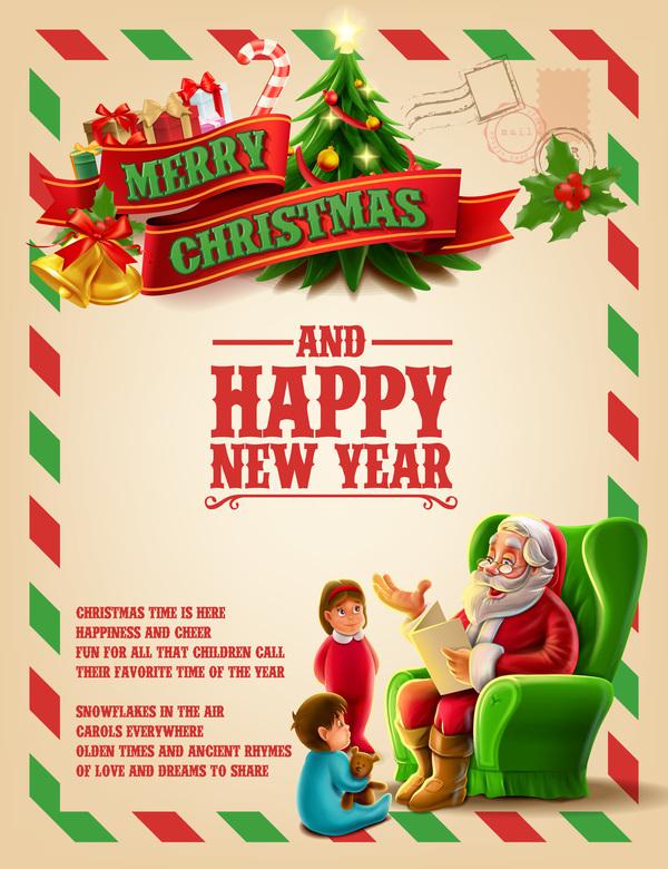 Vector 2017 christmas poster template vector 03