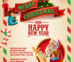Vector 2017 christmas poster template vector 04