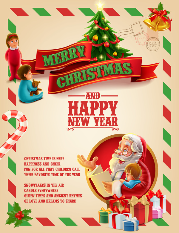 Vector 2017 christmas poster template vector 04