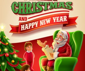 Vector 2017 christmas poster template vector 05