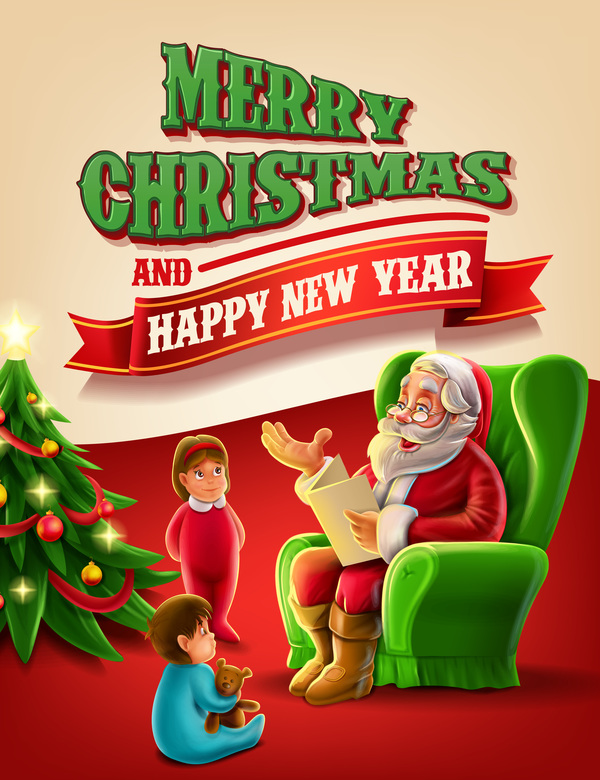 Vector 2017 christmas poster template vector 05