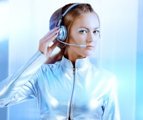 Wearing a headset fashion girl metal shining Stock Photo 01