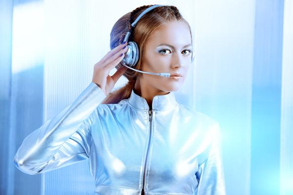 Wearing a headset fashion girl metal shining Stock Photo 01