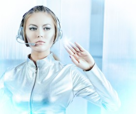 Wearing a headset fashion girl metal shining Stock Photo 02