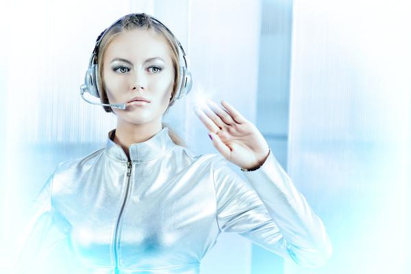 Wearing a headset fashion girl metal shining Stock Photo 02