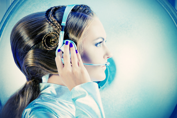 Wearing a headset fashion girl metal shining Stock Photo 03
