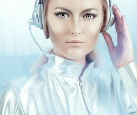 Wearing a headset fashion girl metal shining Stock Photo 04