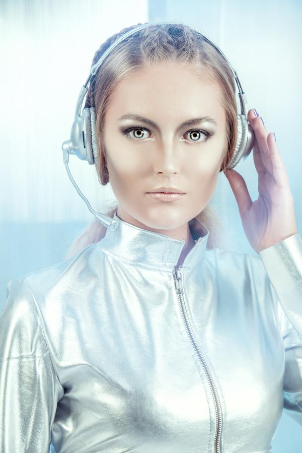 Wearing a headset fashion girl metal shining Stock Photo 04