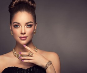 Wearing jewels beautiful girl Stock Photo 01