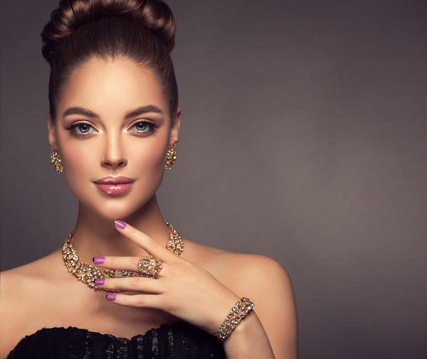Wearing jewels beautiful girl Stock Photo 01