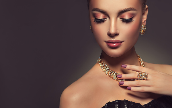 Wearing jewels beautiful girl Stock Photo 02