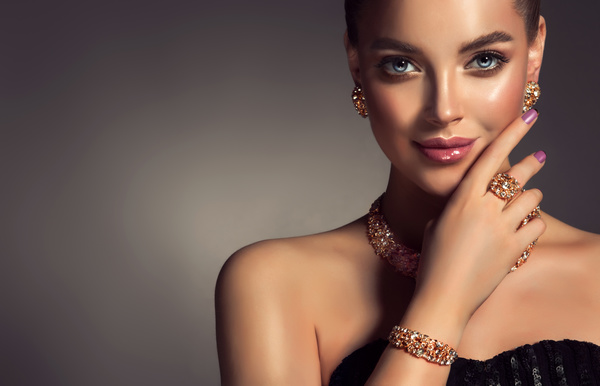 Wearing jewels beautiful girl Stock Photo 03
