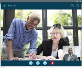 Webcam conversation via computer technology Stock Photo 10