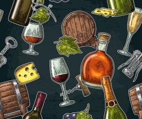 Wine pattern with dark background vector