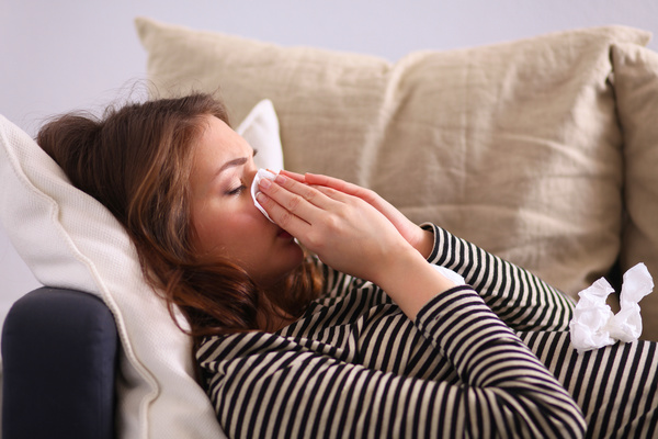 Woman has a cold Stock Photo 01