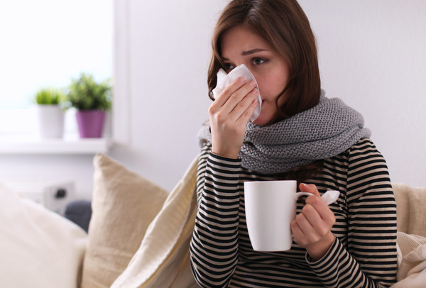 Woman has a cold Stock Photo 02