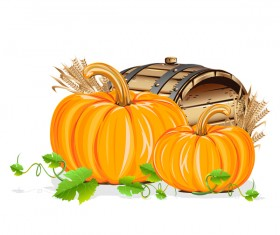 Wooden barrels with pumpkin vector material