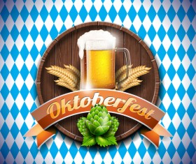 Wooden oktoberfast labels vector material 01
