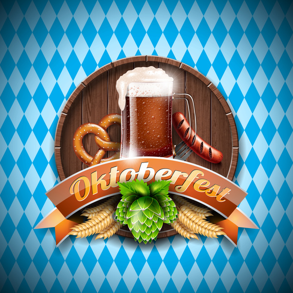 Wooden oktoberfast labels vector material 02