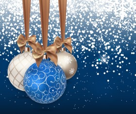 Xmas baubles with snow beckgrounds vector 01