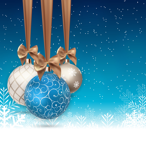 Xmas baubles with snow beckgrounds vector 02