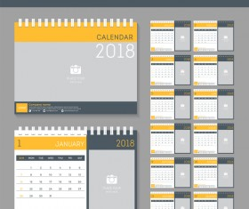 Yellow disk calendar 2018 templates vector