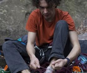 Young climbers climbing Stock Photo 02