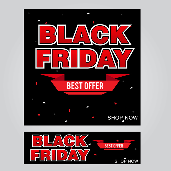 black friday poster with banner template vector material 06