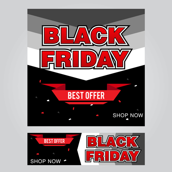 black friday poster with banner template vector material 07