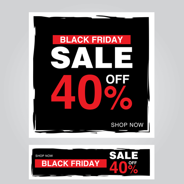black friday poster with banner template vector material 12