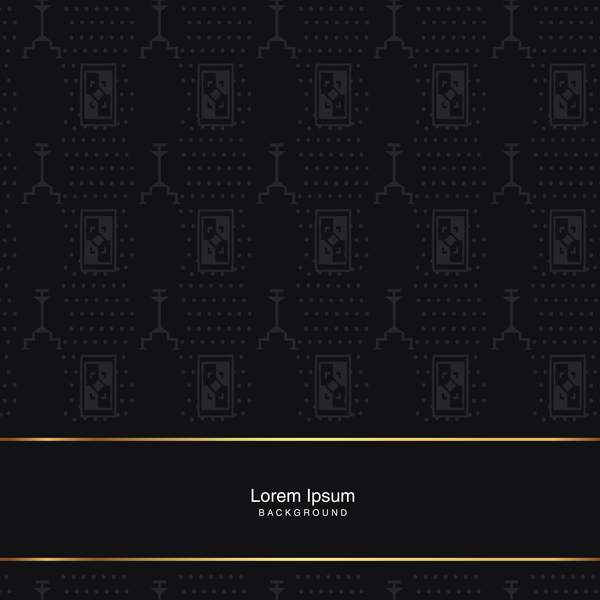 black seamless pattern with gold background vector 04