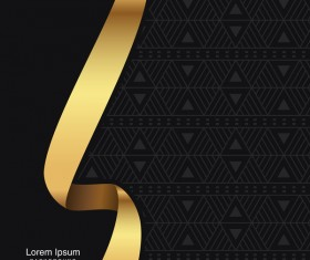 black seamless pattern with gold background vector 11