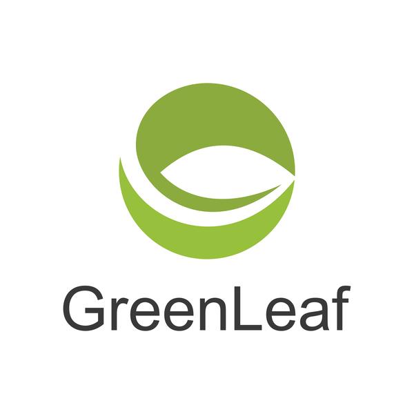 circle green leaf abstract logo vector