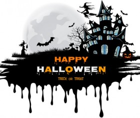 halloween black castle background vector 01