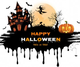 halloween black castle background vector 02