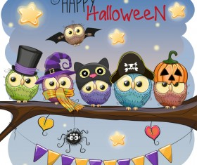halloween cartoon owl vector 01