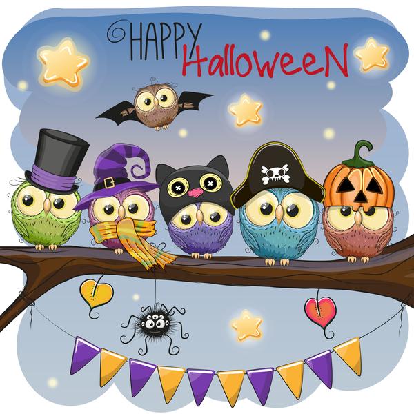 halloween cartoon owl vector 01 free download